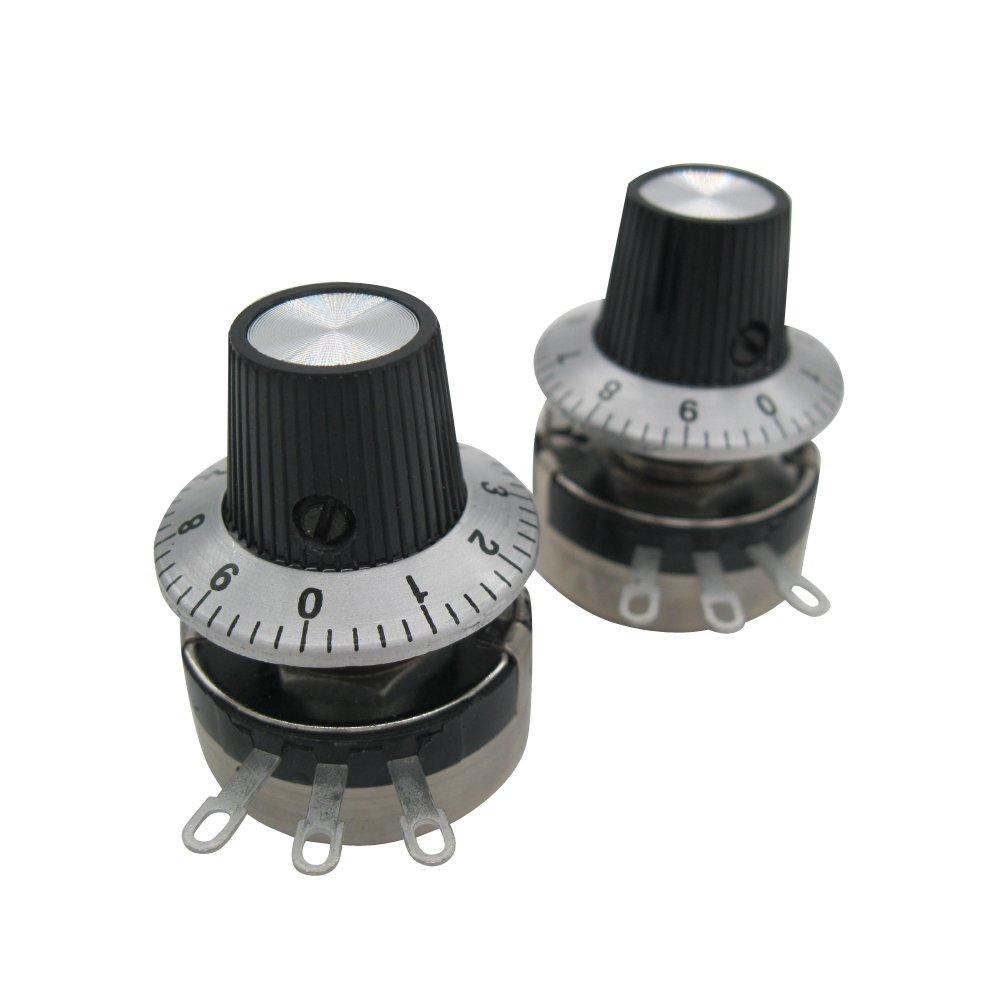 TWTADE/2pcs Single Turn Rotary Carbon Linear Variable Potentiometer + 2pcs Knob ,WTH118-2W 1K Ohm