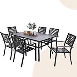 """Garden and Outdoor MFSTUDIO 7 Piece Metal Patio Dining Sets Outdoor Club Bistro Bar Sets with 1.57"""" Umbrella Hole, 6 Stackable Metal Chairs… patio dining sets"""