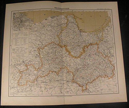 Western Prussia Danzig Baltic Sea 1886 antique color lithograph (1886 Colour Map)