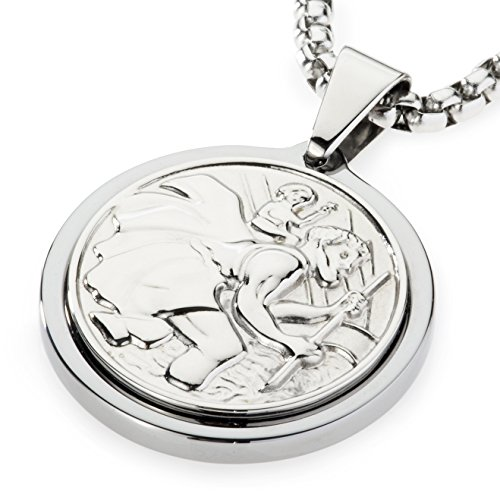Unique Tungsten Medallion Necklace. Platinum Style Stainless Steel Saint Christopher Inlay. 26 (Style Inlay)