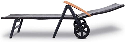 OAKVILLE FURNITURE 61709 Portable Folding Back Patio Outdoor Rattan Adjustable Chaise Lounge Chair