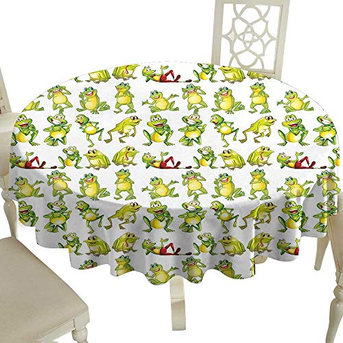 Cranekey The Pattern Round Table Cloth 50 Inch Nursery,Frogs in Different Positions Funny Happy Cute Expressions Faces Toads Cartoon,Green Yellow Red Great for,Party & More (Texas Toads Cartoon)