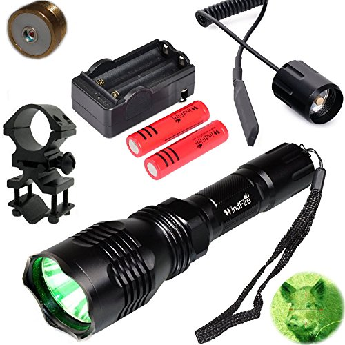 WindFire Waterproof 350 Lumens 250 Yards Green LED Coyote Hog Fox Predator Varmint Hunting Flashlight with Red Light LED Bulb Module Pressure Switch & Barrel Mount & Spare 18650 Battery ()