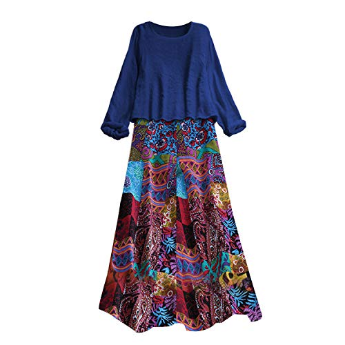 Ultramall Women Vintage Two Pieces Ethnic Print Long Sleeve O-Neck Plus Size Maxi Dress(Blue,XL) by Ultramall (Image #3)