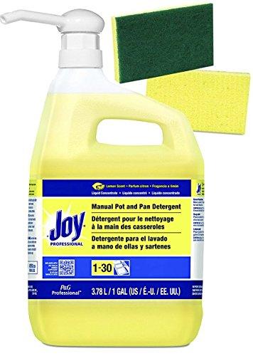 Plus Dishwashing Liquid - Joy Professional Pot and Pan Detergent, Lemon Scent, (128 FL oz.) 1 Gallon Bundle — Plus 1 Gallon Size Pump Dispenser and 2 Scrub sponges