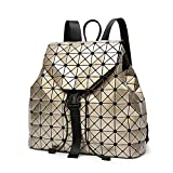 DIOMO Geometric Lingge Laser Women Backpack Travel Shoulder Bag Satchel Rucksack (Gold)