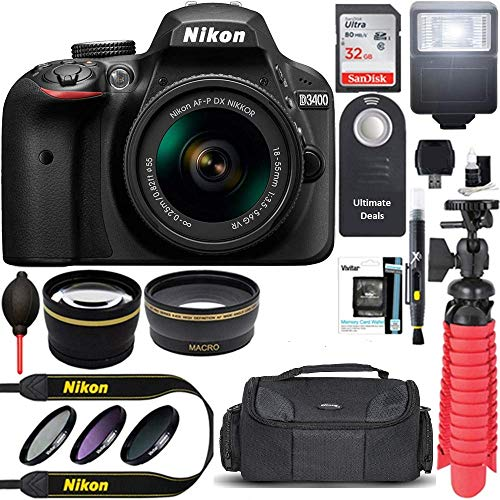 Nikon D3400 24.2 MP DSLR Camera + AF-P DX 18-55mm VR NIKKOR Lens Kit (Black) 32GB SDXC Memory + SLR Photo Bag + Wide Angle Lens + 2X Telephoto Lens + Flash Accessory Bundle