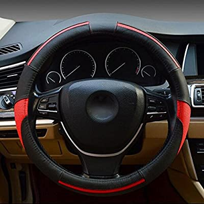 Comfort Steering Wheel Cover for Truck Suv Cars Leather Universal Anti-slip Breathable 15 inch: Automotive
