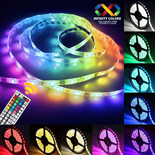 Jestar 5M 16.5ft LED Light Strip SMD 5050 RGB Waterproof 44-Keys IR Remote Power Supply Flexible Color Changing LED Lighting Kit 150 LEDs Home TV Backlit Bedroom Kitchen Indoor Decoration