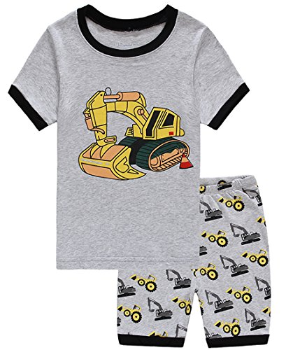 Summer Pajamas Shorts (Babypajama Excavator Little Boys' Summer Shorts Pajamas Set 100% Cotton Pjs Size 4 Years)