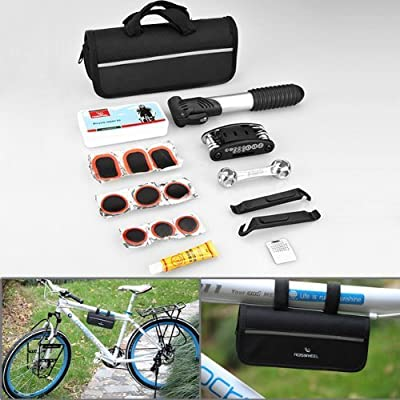 Compact Design 16 in 1 Multi Function Purpose Bike Bicycle Cycling Tire Repair Tool Kits Complete Set + Mini Portable Pump