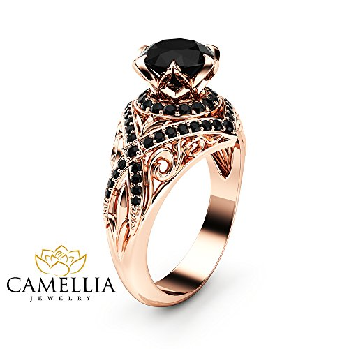 Black Diamond Engagement Ring 14K Rose Gold Ring Edwardian Ring Color Enhanced Natural Diamonds Ring