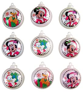 Disney Mickey Mouse and Friends Candy Filled Christmas Ornament Containers, Set of 9
