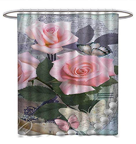 (Anhuthree Pearls Shower Curtain Collection by Classic Rose and Pearls Romantic Dramatic Love Symbols Together Grace Bouquet Artwork Satin Fabric Sets Bathroom W69 x L75 Pink Grey)