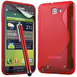 ONX3 Samsung Galaxy Note N7000 Red S Line Wave Gel caso de la piel cubierta + Red High capacitivo Stylus Pen + LCD Protector de pantalla