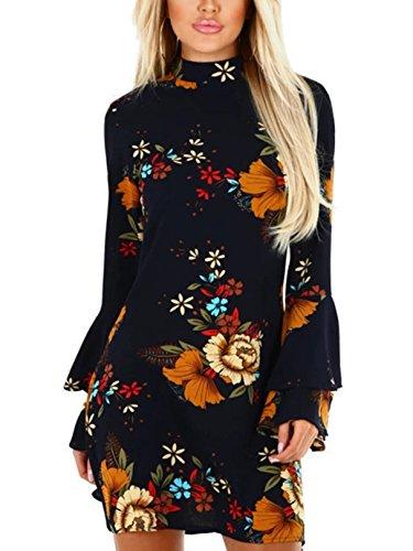 Flared Sleeves Dress Mini - YOINS Women Dress Random Floral Print Perkins Collar Flared Sleeves Mini Dresses 08 S
