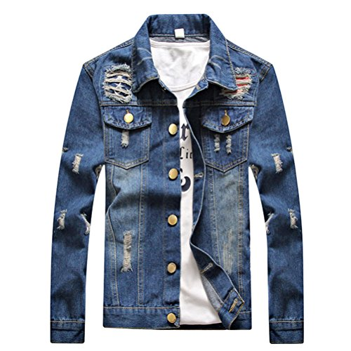 Stylish Zhuhaitf Blue E Slim Jacket Mens Sleeve Fit Confortevole Washed Classic Denim Long Spring Morbido RxFPwxpq