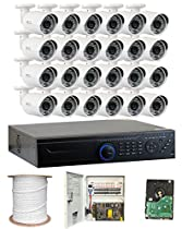 GW Security 2.1 Megapixel HD-TVI 1080P Complete Security System | (24) x 2.1MP HDTVI (True HD 1080P) Outdoor Bullet Security Cameras, 32-Channel Plug and Play DVR, 8TB Pre-Installed Hard Drive