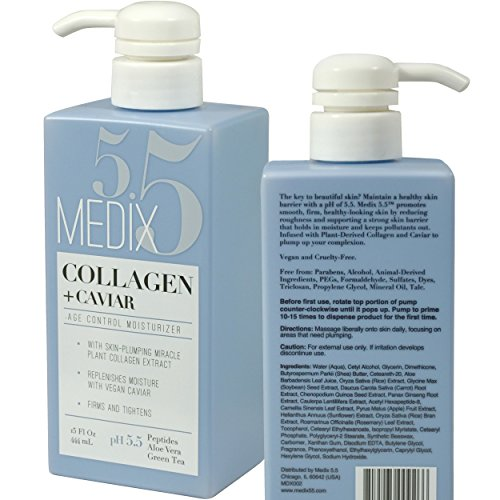 Medix 5.5 Collagen Cream with Caviar. Anti-aging Moisturizer. Firms And Tightens For Younger Looking Skin. Anti-Aging Cream Infused With Peptides, Aloe Vera, and Green Tea. (15oz) ()