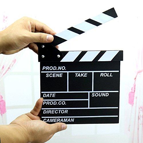 "Professional Black & White TV Film Clapper Board Slate(Black,7.9"" X 7.9"")"