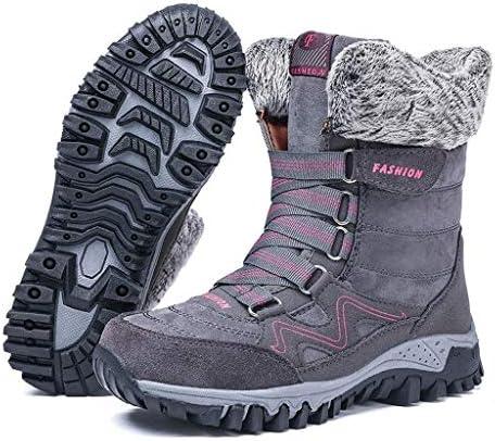 男性ハイキングクラシックフェイクファーのためのスエードミッドアウトドアシューズ女性通気性のための雪のブーツは、快適な寒冷シューズを裏地 (色 : 赤, サイズ : 24 CM)