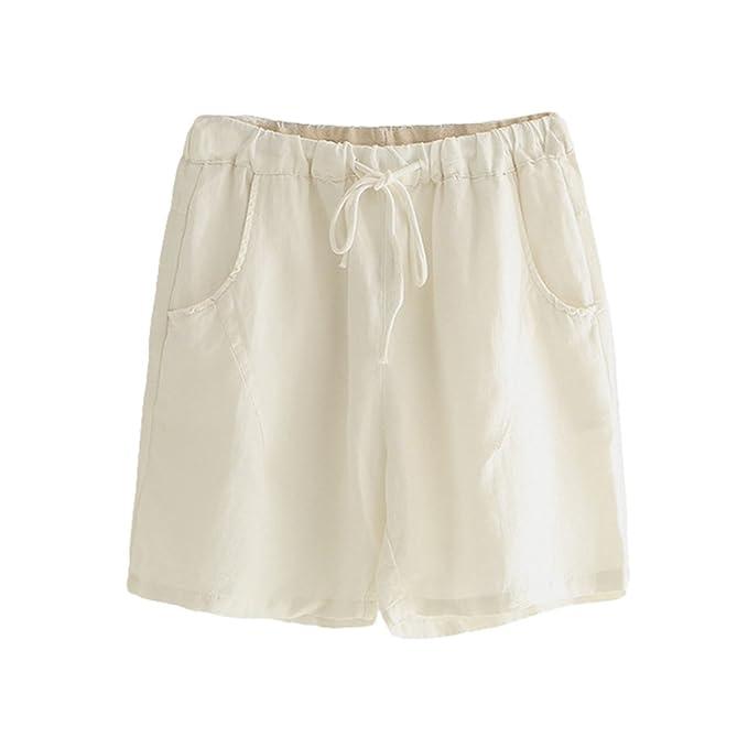 d7183b3326de33 LvRaoo Pantaloncini in Lino di Cotone con Coulisse Pantaloni a Vita Alta da  Donna (Bianca