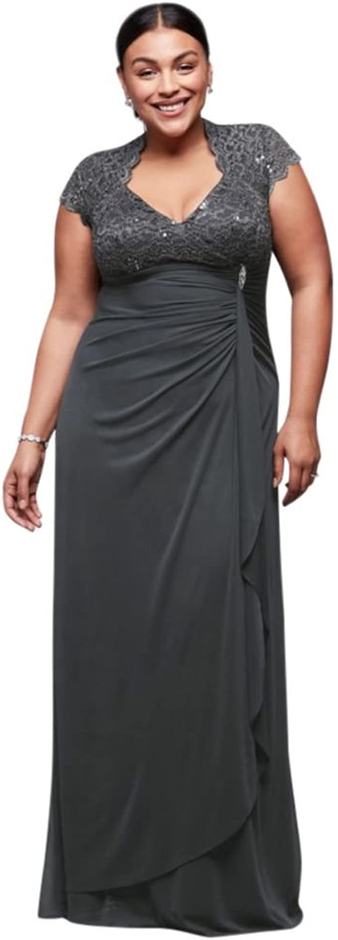 Textured Glitter Plus Size Mother of Bride//Groom Dress with Necklace Style 1873W