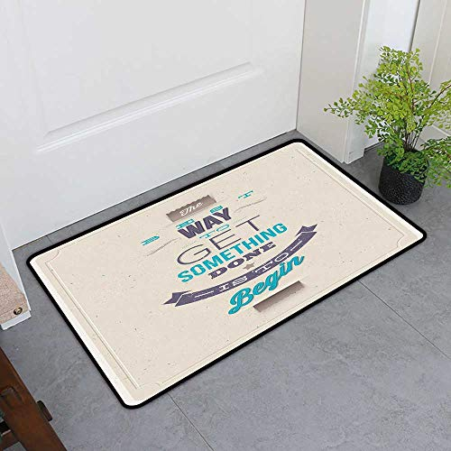 Commercial Door Mat, Motivational Custom Doormats for Bedroom, Retro Frame with Words of Wisdom About Leadership and Success (Ivory Eggplant Turquoise, H24 x W36) ()