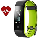 Kinbom Fitness Tracker, Heart Rate Monitor Color Screen Smart Bracelet With Sleep Monitor, Step Counter, Message Reminder, IP68 Waterproof Activity Tracker for Android&iOS Smart Phone (BlackGreen)