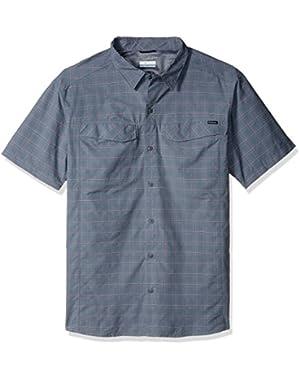Men's Silver Ridge Multi Plaid Short Sleeve Shirt, Grey Ash Dobby Plaid, XX-Large!