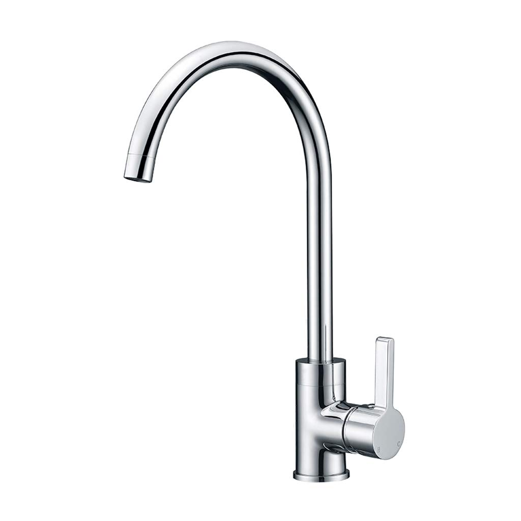 Single Hole Shirley's Home Faucet Kitchen Sink Mixer Tap, Single Lever Tap Mixer, Hot And Cold Kitchen Sink Taps Brass Chrome Finish Modern Bathroom (color   Single hole)