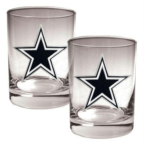 NFL Dallas Cowboys Two Piece Rocks Glass Set - Primary Logo