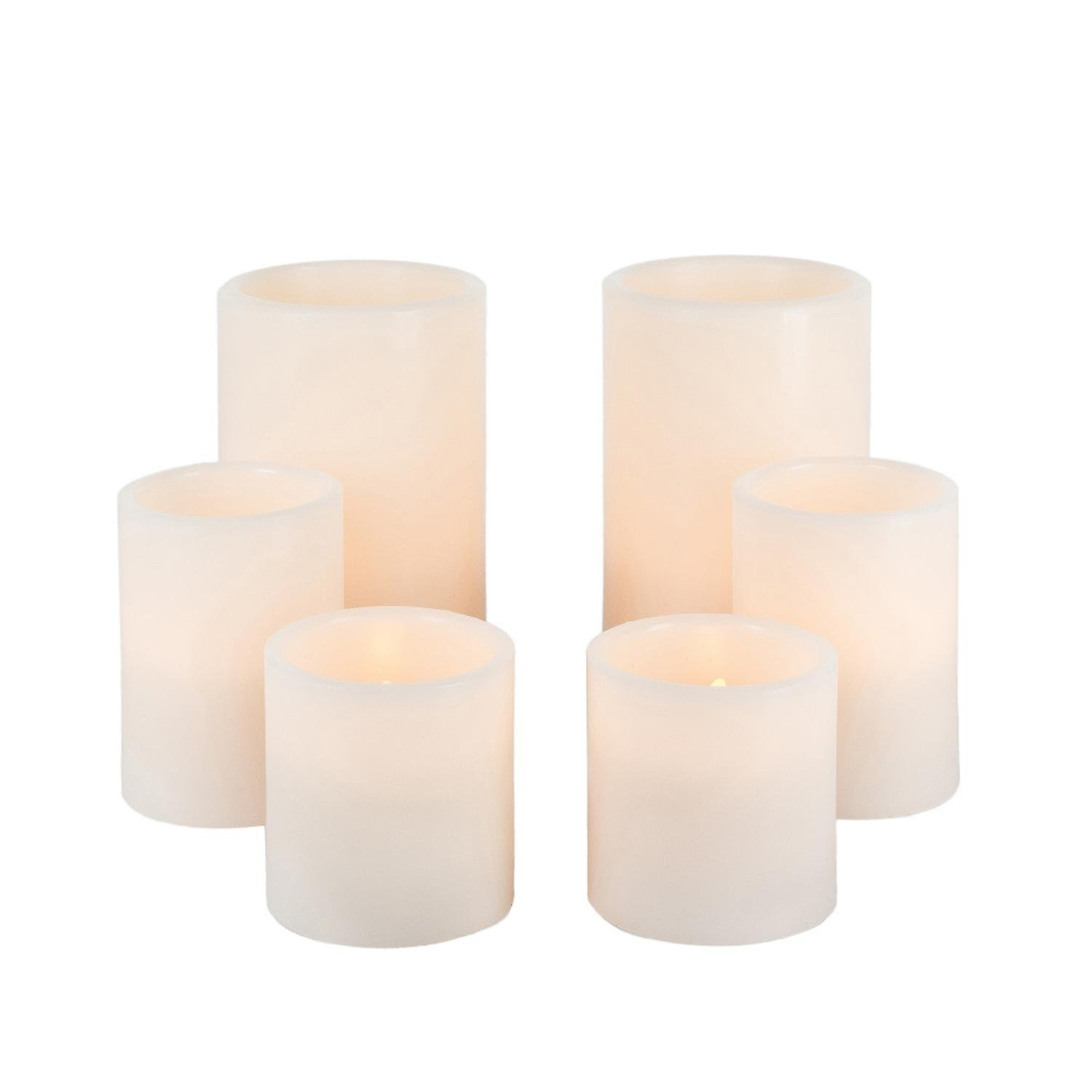 Diva At Home Set of 6 Bisque Colored Wax Decorative Warm White LED Candle Lights 6''