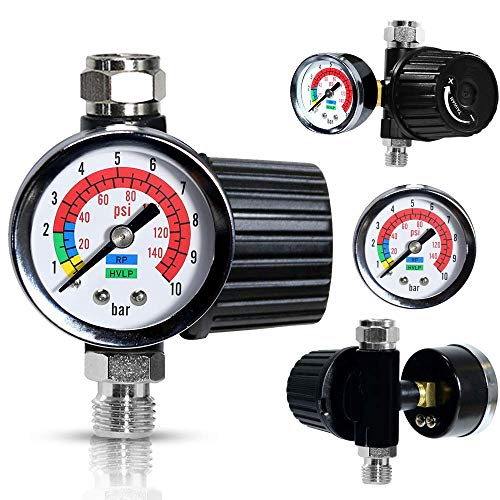 Le Lematec Air Flow Regulator with Gauge, ¼-inch NPT Diaphragm Type In Line Regulator for Air Compressor (AR-02)
