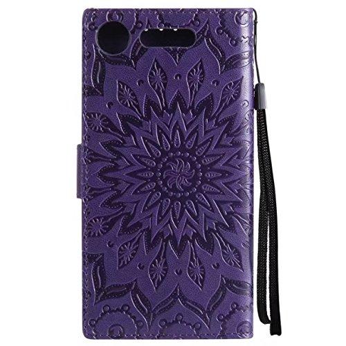 YHUISEN Sun Flower Printing Design PU cuero funda protectora de la cartera del tirón con ranura para tarjeta de soporte para Sony Xperia XZ1 (2017) ( Color : Green ) Purple
