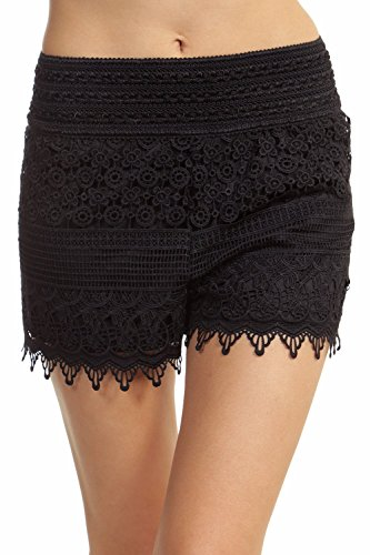 ToBeInStyle Women's Crotchet Lace Shorts - Black - 1XL (Shorts Plus Size Womens)