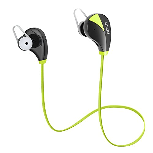 Bluetooth Headphones, ATTRAKEY S350 Wireless In-Ear Sports Earbuds Sweatproof Earphones Noise Cancelling Headsets with Mic for Running Jogging (Green)