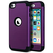 iPod Touch 6 Case,iPod Touch 5 Case,ULAK 3 Piece Shock Absorbing Case for Apple iPod Touch 5 6th Generation Hybrid Protective Silicon Hard Cover_2015 Released (Navy Purple+Black)