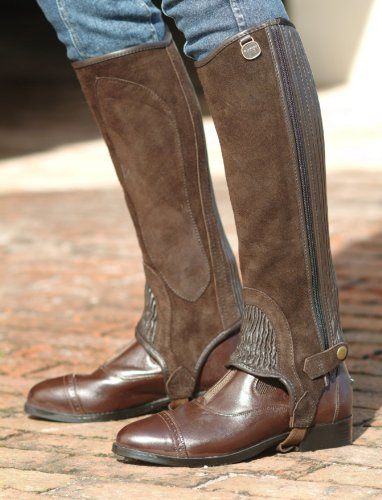 Suede 1/2 Chaps (Ovation Ladies Suede Stretch Ribb Half Chaps with Zipper - Color:Chocolate Size:)