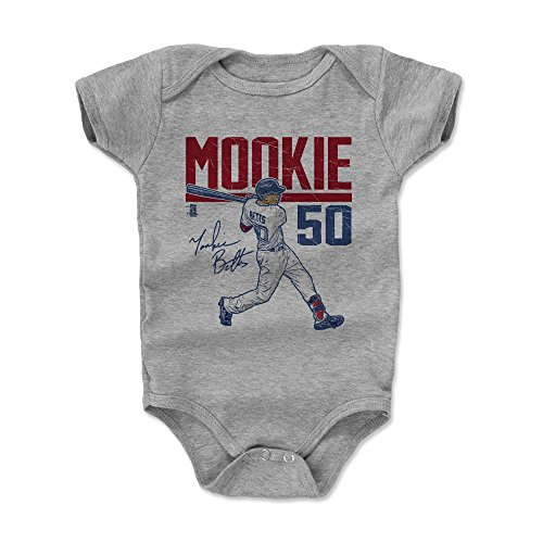 Boston Red Sox Body - 500 LEVEL Mookie Betts Baby Clothes, Onesie, Creeper, Bodysuit 6-12 Months Heather Gray - Boston Baseball Baby Clothes - Mookie Betts Hyper R