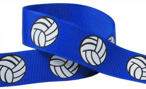 HipGirl Brand Printed Grosgrain Ribbon, 5 -Yard 7/8-Inch Volleyball Up Close, Electric Blue (Trim Lace Polka Dot)