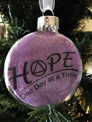 Glass Puffed Flat Ornament Alcoholics Anonymous AA Hope One Day at a Time Laser Printed Recovery Meditation Room Prayer Room Decor Ornament