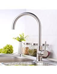 Ling 304 Stainless Brushed Sink Faucet Cold And Hot Basin Taps For Bathroom Kitchen