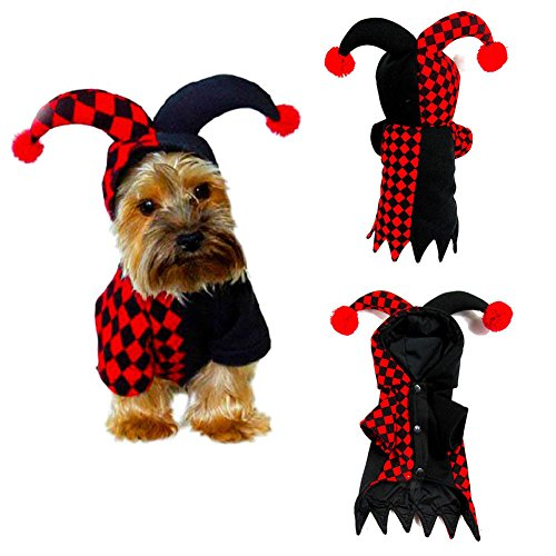 Elibeauty Pets Costumes, Festival Parties Christmas Dogs Cats Super Funny Crazy Clown Style Clothes Cosplay Party Funny Outfit Clothes -