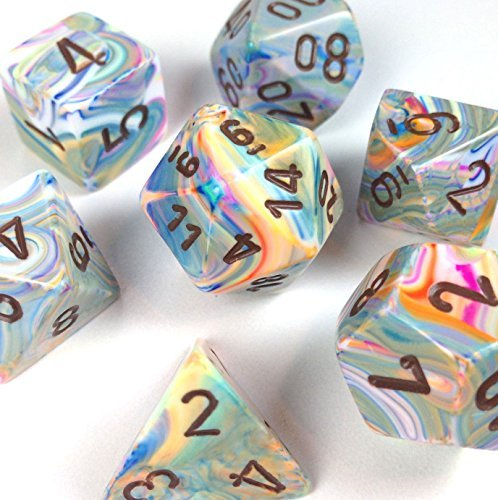 Custom & Unique {Standard Medium} 7 Ct Pack Set of [D4, D6, D8, D10, D12, D20] Assorted Polyhedral Shapes Opaque Numbered Playing & Game Dice w/ Rainbow Swirl Design [Green - Green Rainbow Design