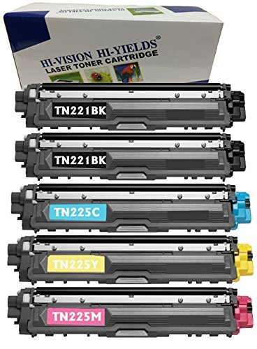 5k Pages Magenta Toner - HI-VISION HI-YIELDS Compatible Toner Cartridge Replacement for Brother TN221/ TN225 (2 Black, 1 Cyan, 1 Yellow, 1 Magenta, 5-Pack)