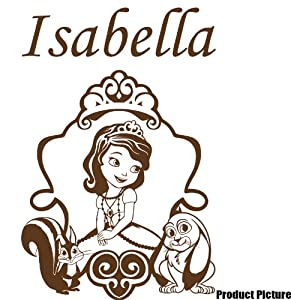 princess sofia with your chosen name 60 cm x 40 cm colour brown any name personalised name childs bedroom children room stickers car vinyl