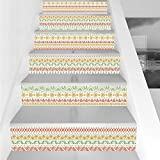 Stair Stickers Wall Stickers,6 PCS Self-Adhesive,Striped,Folk Soft Pastel Color Aztec Backdrop with Round Shapes Triangles Mexican Artsy Print,Multi,Stair Riser Decal for Living Room, Hall, Kids Room