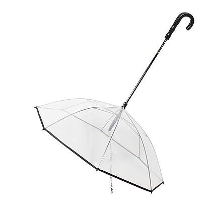 Lorjoy Asamblea Perro Cap Paraguas Transparente Cable de Remolque para Mascotas Sombrero del Perrito de sirga