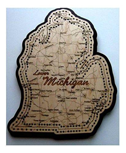Lower Michigan Shaped Road Map Cribbage Board -